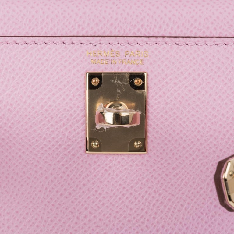 Purple Hermes Kelly 20 Sellier Mini Kelly II Mauve Sylvestre Epsom Permabrass Hardware