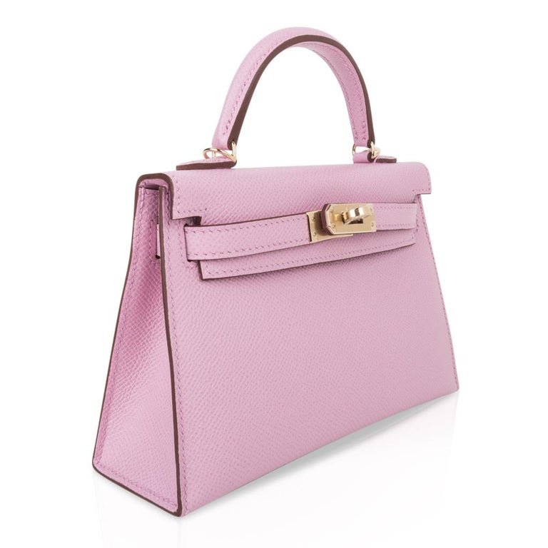 Hermes Kelly 20 Sellier Mini Kelly II Mauve Sylvestre Epsom Permabrass Hardware In New Condition In Miami, FL
