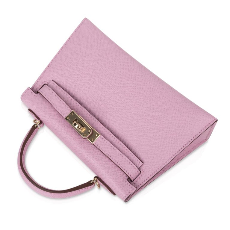 Women's Hermes Kelly 20 Sellier Mini Kelly II Mauve Sylvestre Epsom Permabrass Hardware