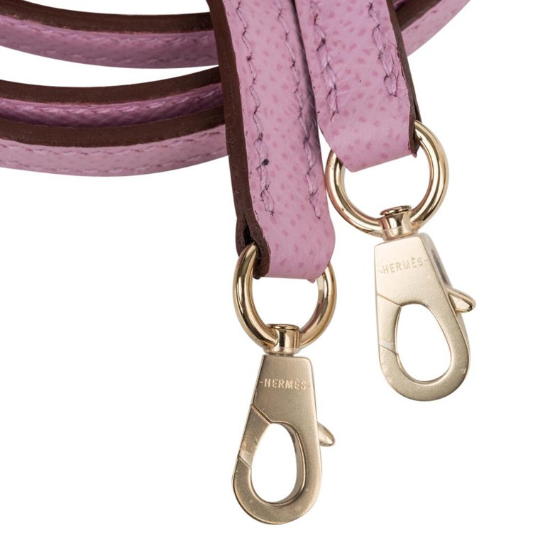 Hermes Kelly 20 Sellier Mini Kelly II Mauve Sylvestre Epsom Permabrass Hardware 2
