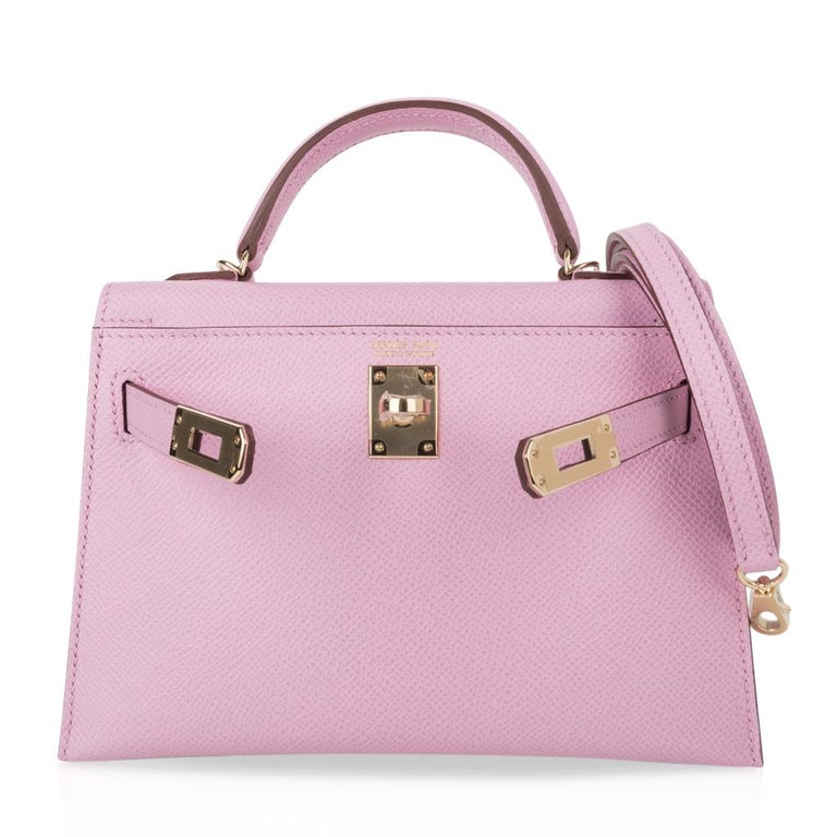 Hermes Kelly 20 Sellier Mini Kelly II Mauve Sylvestre Epsom Permabrass Hardware 3