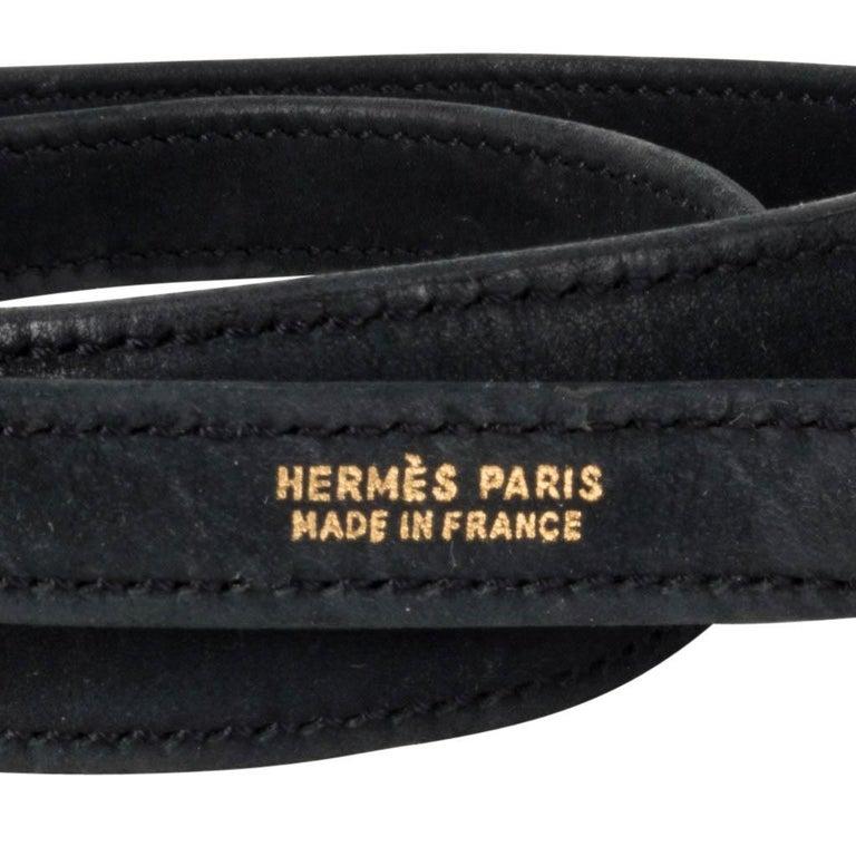Hermes Kelly 20 Vintage Black Pleated Silk Suede Trim Gold Hardware For Sale 6