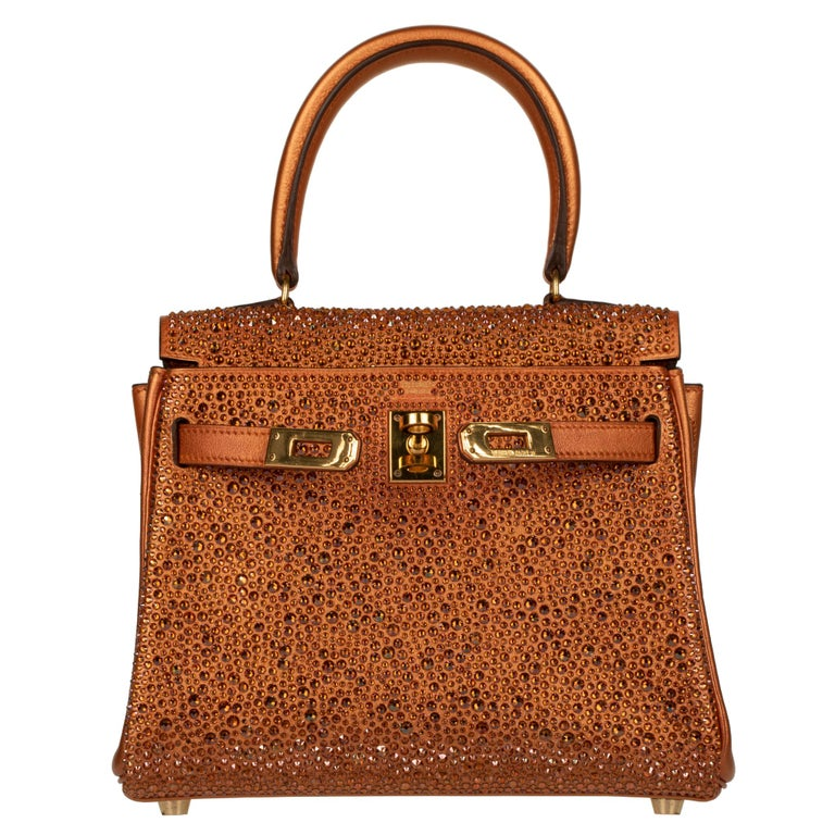Hermès Kelly 20cm Custom Metallic Copper & Swarovski Crystal Gold Hardware For Sale 5