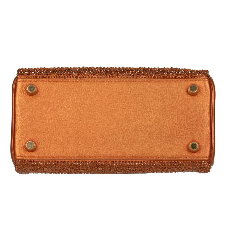 Hermès Kelly 20cm Custom Metallic Copper & Swarovski Crystal Gold Hardware For Sale 7