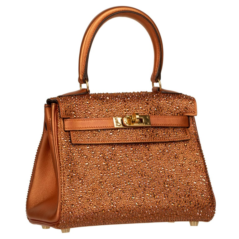 Brown Hermès Kelly 20cm Custom Metallic Copper & Swarovski Crystal Gold Hardware For Sale