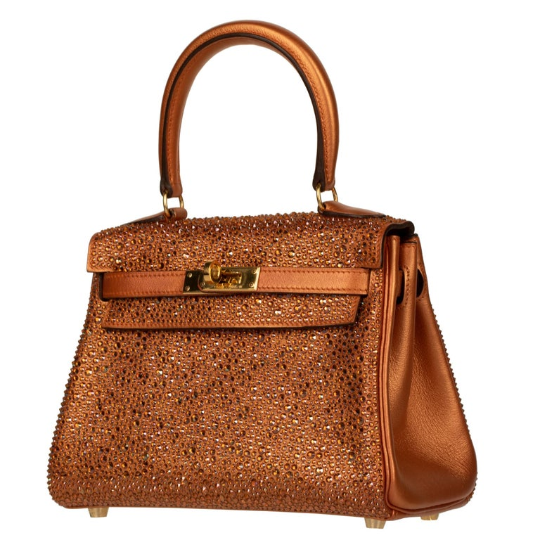 Women's or Men's Hermès Kelly 20cm Custom Metallic Copper & Swarovski Crystal Gold Hardware For Sale