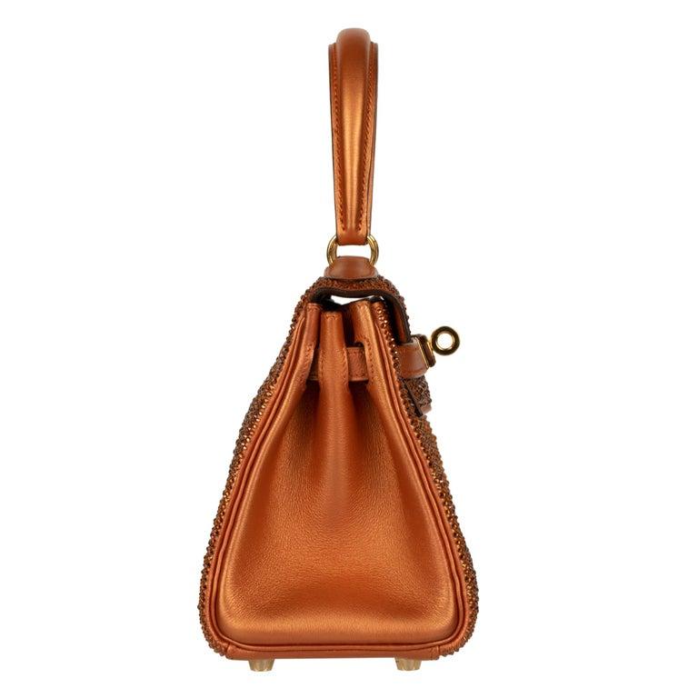 Hermès Kelly 20cm Custom Metallic Copper & Swarovski Crystal Gold Hardware For Sale 2