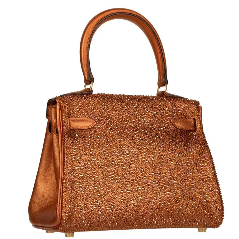 Hermès Kelly 20cm Custom Metallic Copper & Swarovski Crystal Gold Hardware For Sale 4