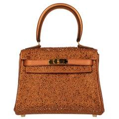 Hermès Kelly 20cm Custom Metallic Copper & Swarovski Crystal Gold Hardware