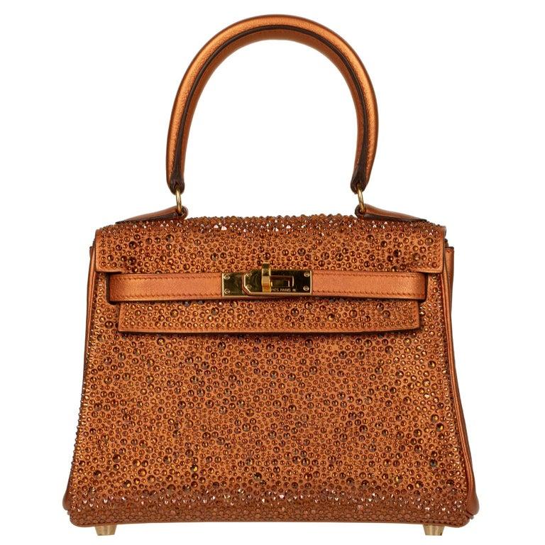 Hermès Kelly 20cm Custom Metallic Copper & Swarovski Crystal Gold Hardware For Sale