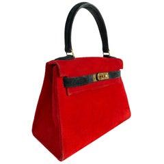 1stdibs Exclusive Hermès Kelly 20cm Rouge & Black Suede Doblis Gold Hardware