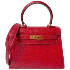 1stdibs Exclusive Hermès Kelly 20cm Rouge Lizard Gold Hardware