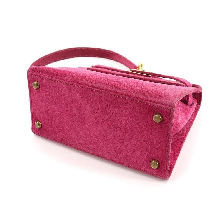 Red Hermès Kelly 20cm Shoulder Strap Fuchsia Doblis Gold Hardware For Sale
