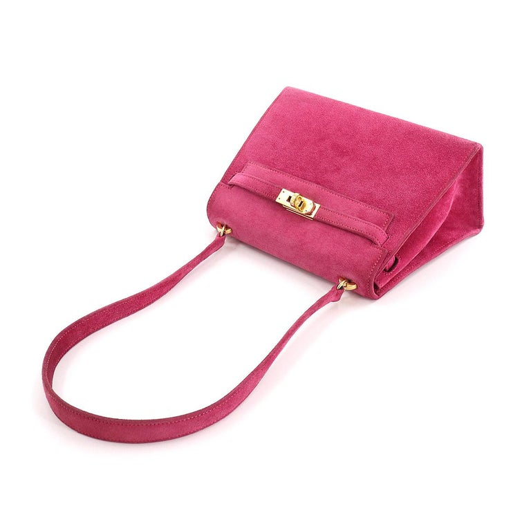 Hermès Kelly 20cm Shoulder Strap Fuchsia Doblis Gold Hardware In Good Condition For Sale In Sydney, New South Wales
