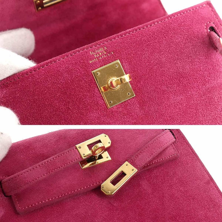 Hermès Kelly 20cm Shoulder Strap Fuchsia Doblis Gold Hardware For Sale 1