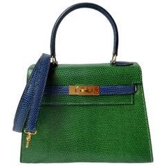Hermès Kelly 20cm Tri-color Vert Moyen, Blue Saphire, Rouge Lizard Gold Hardware