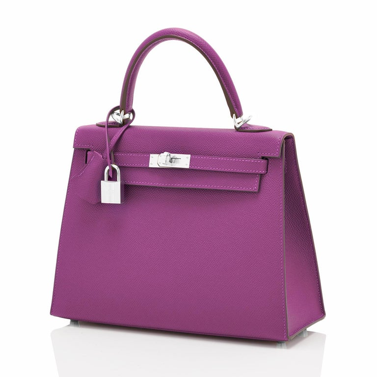 Hermes Kelly 25 Anemone Epsom Sellier Purple Shoulder Bag NEW Devastatingly gorgeous color! Beyond darling and super chic! New or Never Worn. Pristine Condition (with plastic on hardware). Perfect gift! Comes full set with keys, lock, clochette,