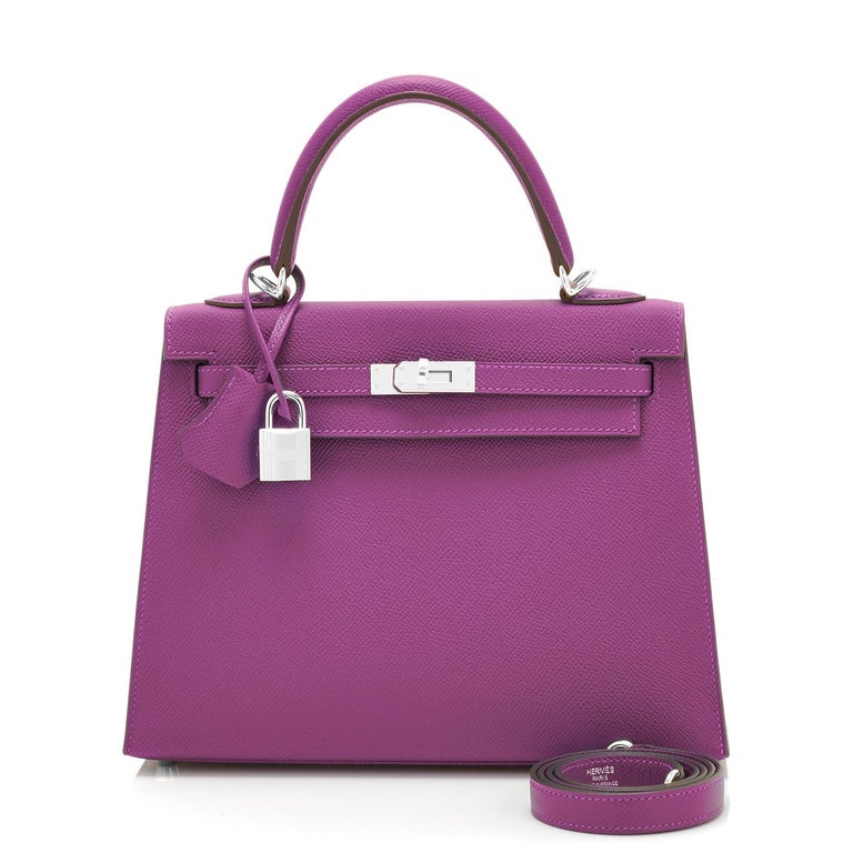 Hermes Kelly 25 Anemone Epsom Sellier Orchid Purple Shoulder Bag NEW In New Condition For Sale In New York, NY