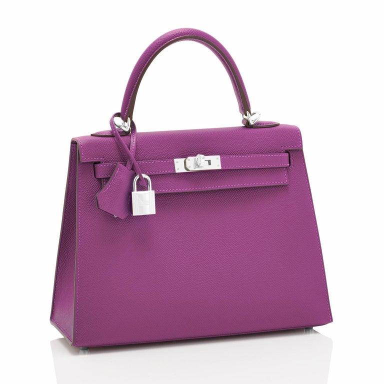 Women's Hermes Kelly 25 Anemone Epsom Sellier Orchid Purple Shoulder Bag NEW For Sale