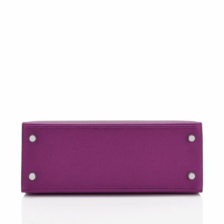 Hermes Kelly 25 Anemone Epsom Sellier Orchid Purple Shoulder Bag NEW For Sale 3