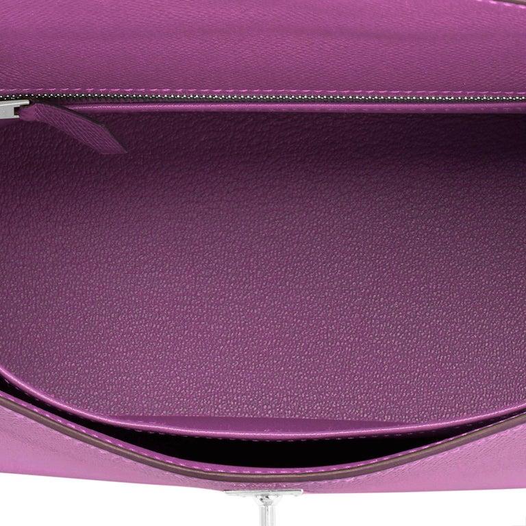 Hermes Kelly 25 Anemone Epsom Sellier Orchid Purple Shoulder Bag NEW For Sale 4