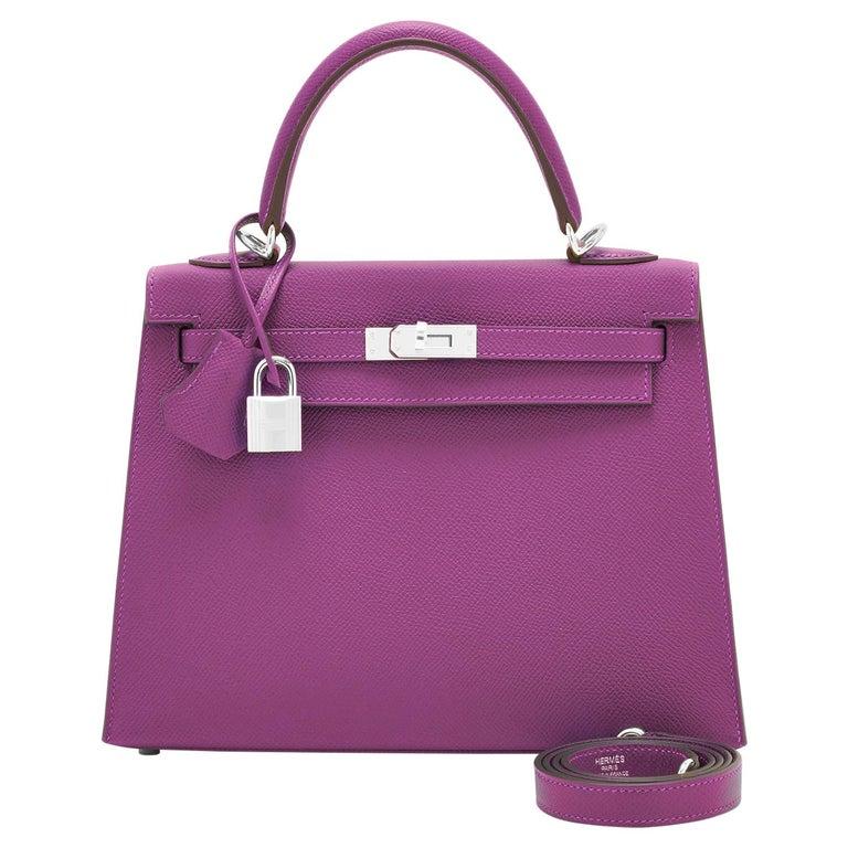 Hermes Kelly 25 Anemone Epsom Sellier Orchid Purple Shoulder Bag NEW For Sale