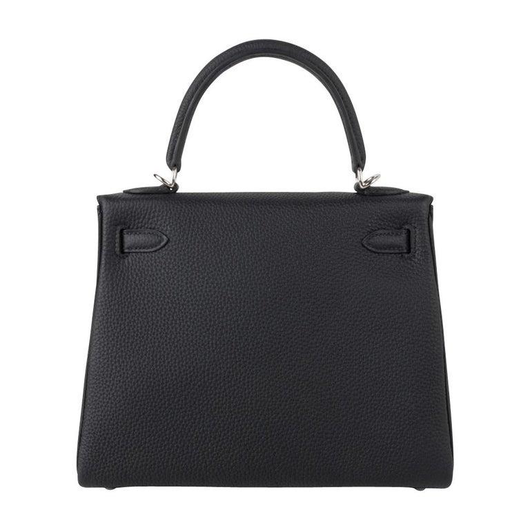 Hermes Kelly 25 Bag Retourne Black Togo Palladium Hardware  For Sale 7
