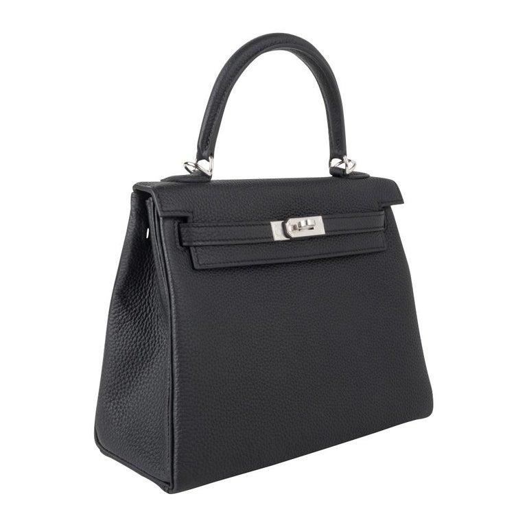Hermes Kelly 25 Bag Retourne Black Togo Palladium Hardware  For Sale 1