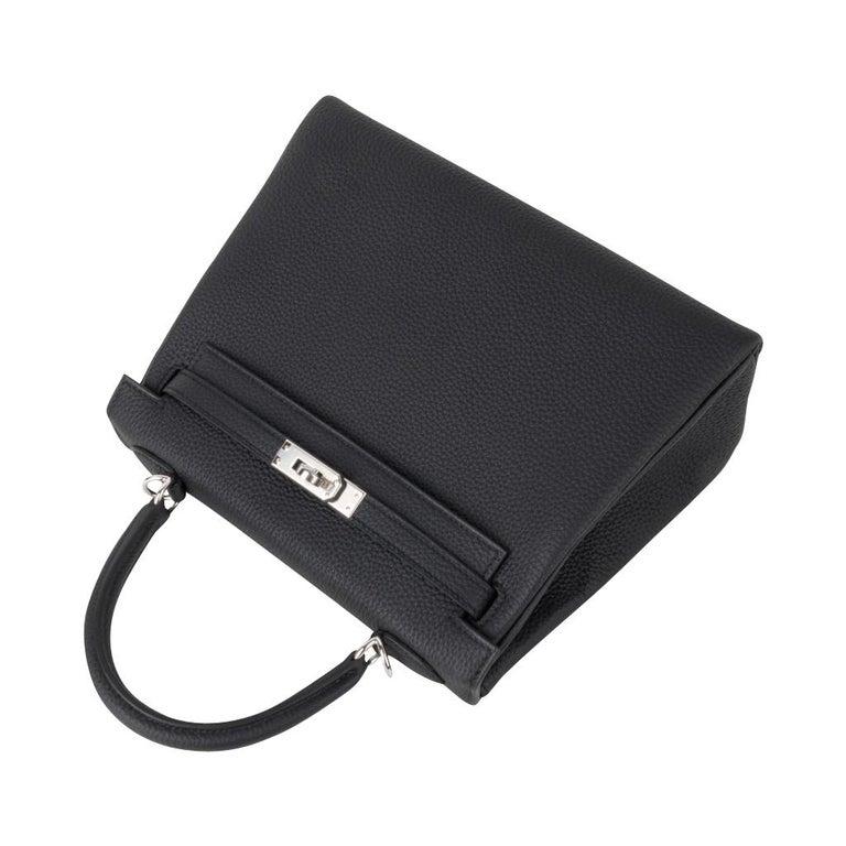 Hermes Kelly 25 Bag Retourne Black Togo Palladium Hardware  For Sale 2