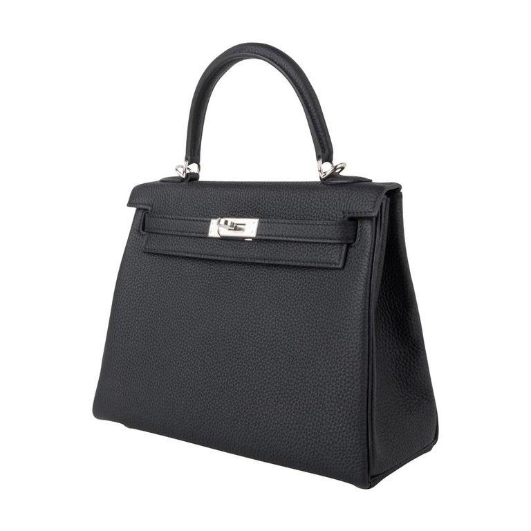 Hermes Kelly 25 Bag Retourne Black Togo Palladium Hardware  For Sale 3