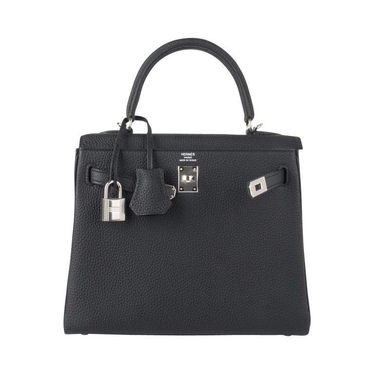 Hermes Kelly 25 Bag Retourne Black Togo Palladium Hardware  For Sale 4
