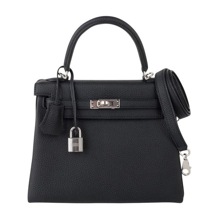 Hermes Kelly 25 Bag Retourne Black Togo Palladium Hardware  For Sale