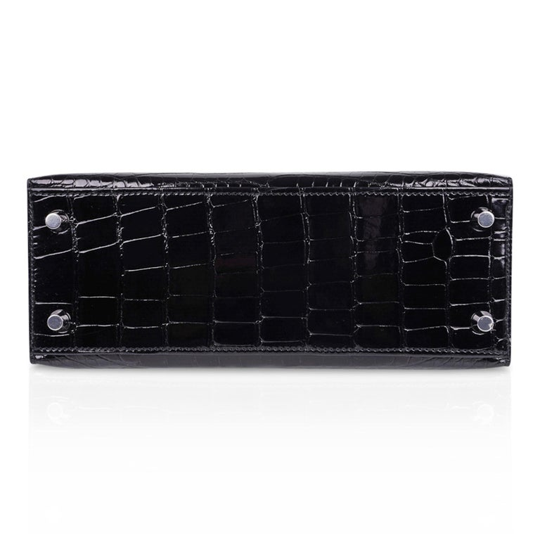 Hermes Kelly 25 Bag Sellier Black Alligator Palladium Hardware For Sale 6