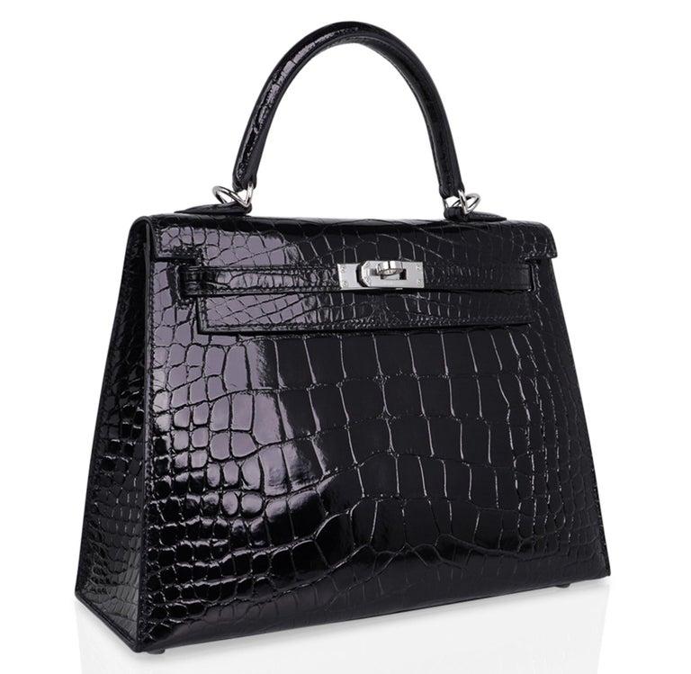 Hermes Kelly 25 Bag Sellier Black Alligator Palladium Hardware For Sale 1