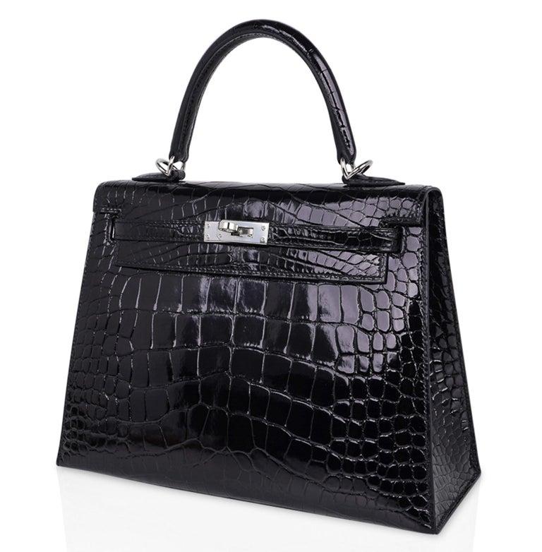 Hermes Kelly 25 Bag Sellier Black Alligator Palladium Hardware For Sale 2