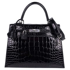Hermes Kelly 25 Bag Sellier Black Alligator Palladium Hardware