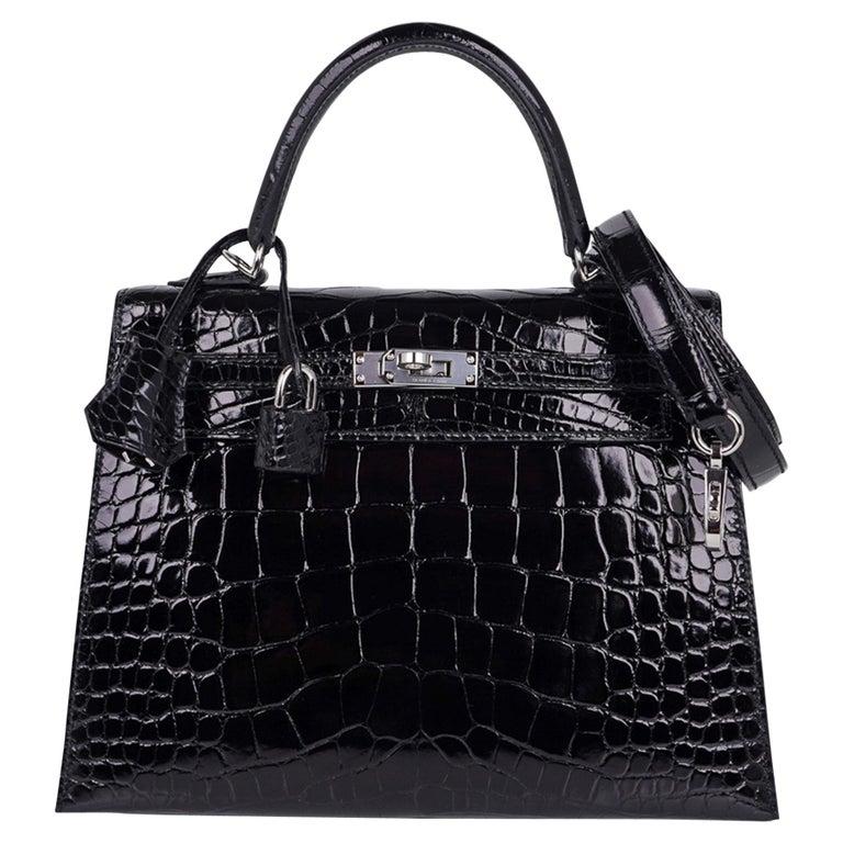 Hermes Kelly 25 Bag Sellier Black Alligator Palladium Hardware For Sale