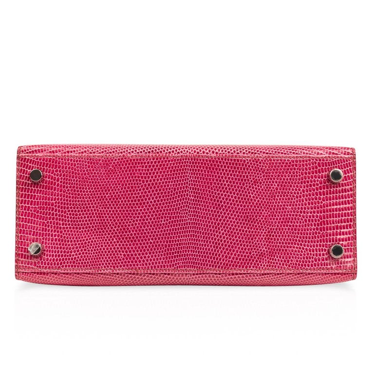 Hermes Kelly 25 Bag Sellier Fuschia Pink Lizard Palladium For Sale 6