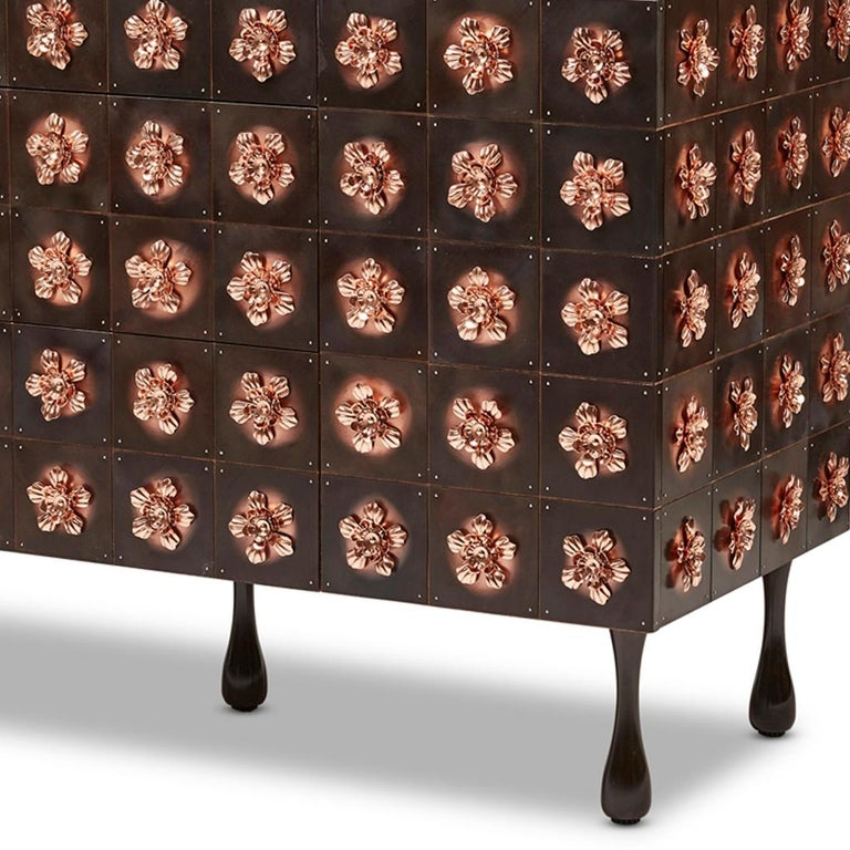Copper and Burnished Steel, Contemporary Rosette Sideboard by Egg Designs For Sale 4