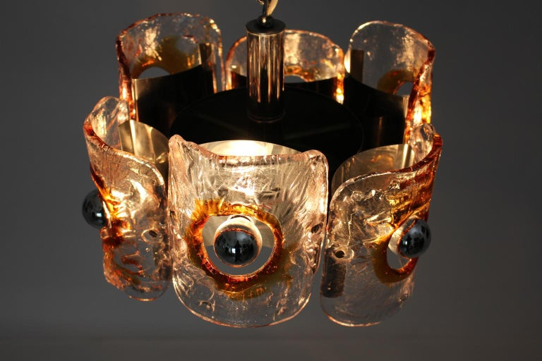 Mid Century Modern Vintage Glass Chandelier Mazzega Chandelier, Italy, 1970 For Sale 6
