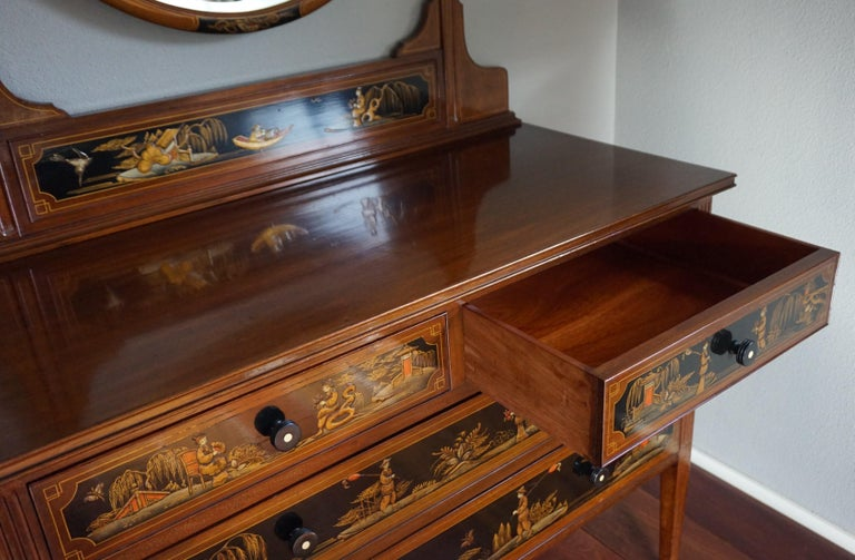 Antique Hand-Painted Mahogany Commode W. Beveled Vanity Mirror Chinoiserie Style For Sale 6