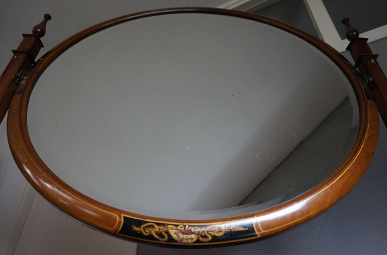 Antique Hand-Painted Mahogany Commode W. Beveled Vanity Mirror Chinoiserie Style For Sale 8