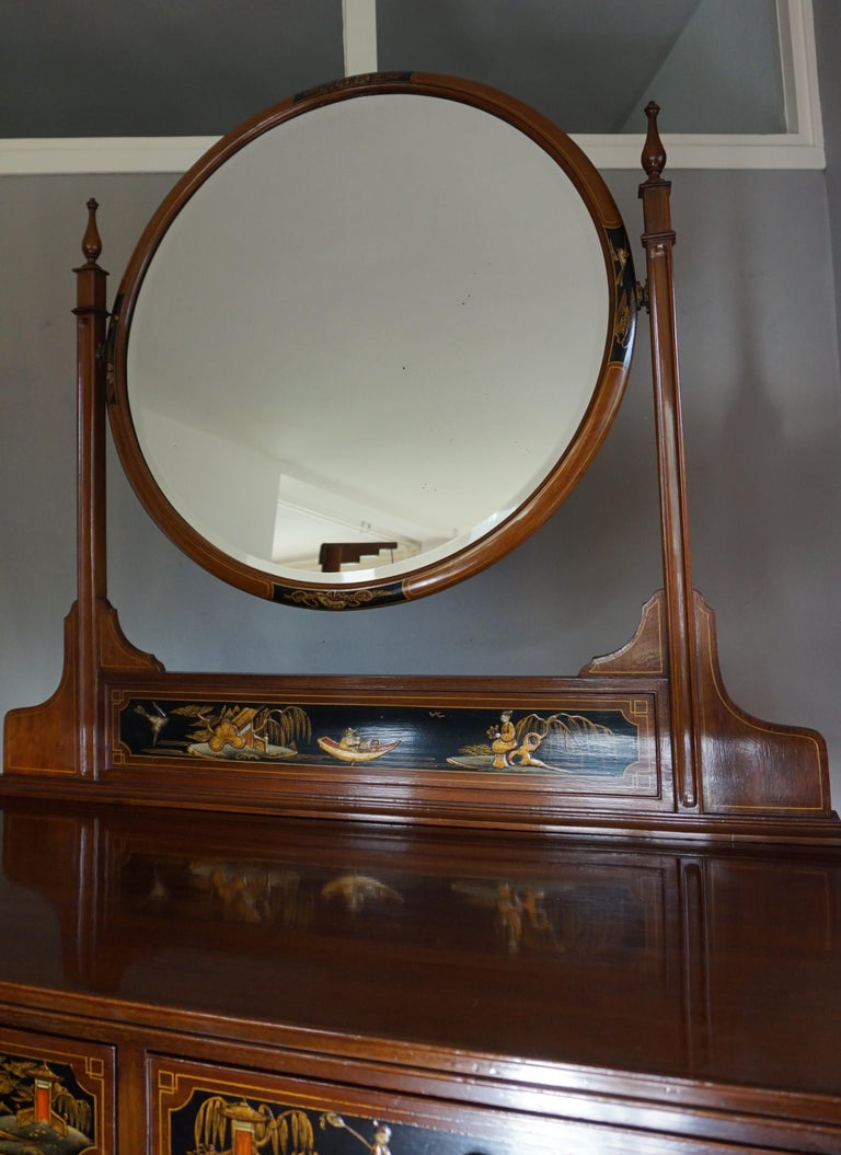 Antique Hand-Painted Mahogany Commode W. Beveled Vanity Mirror Chinoiserie Style For Sale 11