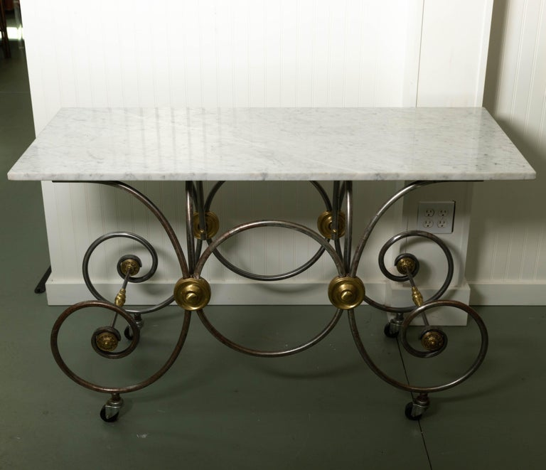 French Style Marble Top Bakers Table With Brass And Metal