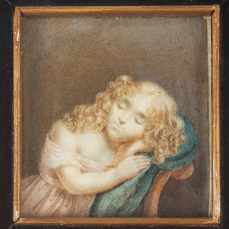 Painted miniature of a girl, depicting Nicolette six. Dated 1818.
