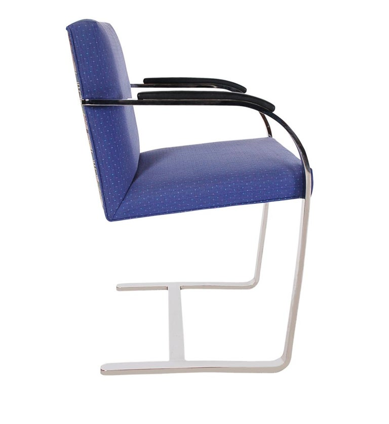 A complete set of eight Brno chairs designed by Ludwig Mies van der Rohe for Knoll International. These feature extremely heavy steel frames with original upholstery. Chairs were produced in the early 1990s and need recovering, priced accordingly.