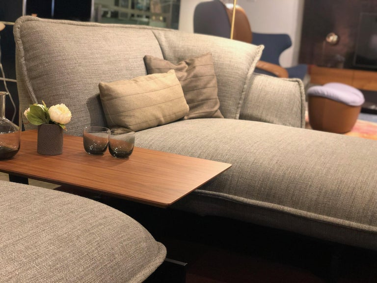 Cassina Beam sectional system includes American walnut side table. This comfortable sectional can be used together or in individual parts.