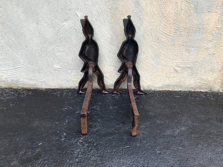"""Hessian soldier andirons, early 1800s. Provenance: Upstate New York. Measures: 20"""" H x 9"""" W x 18"""" D. Excellent patina and original paint giving a beautiful vintage look. Extremely rare being depicted with Blue coats and a fine example of such."""