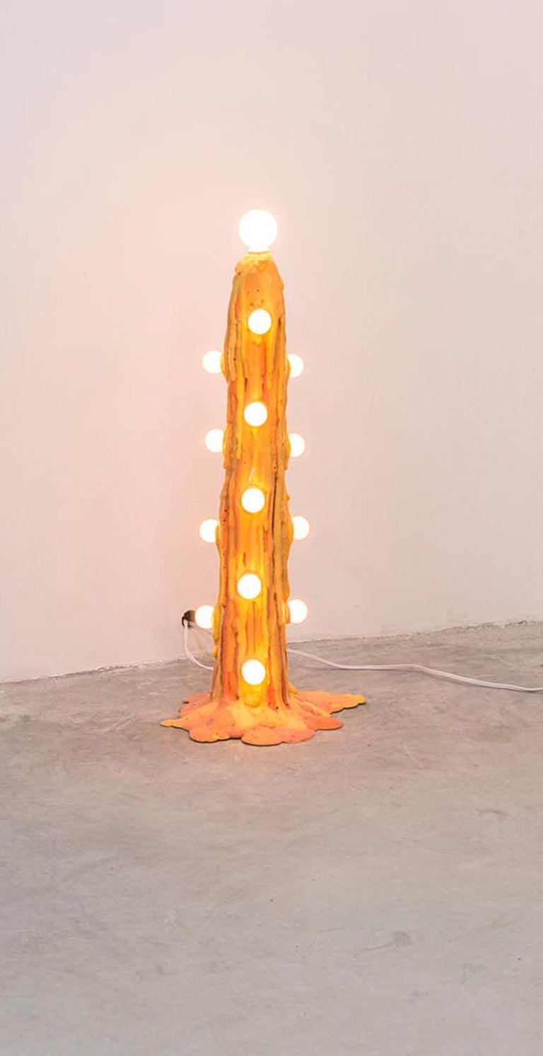 Orange Foam Light was designed by Joseph Algieri for the In Good Company show in 2017. The expandable foam houses 7.5W light bulbs and creates an abstract floor lighting.