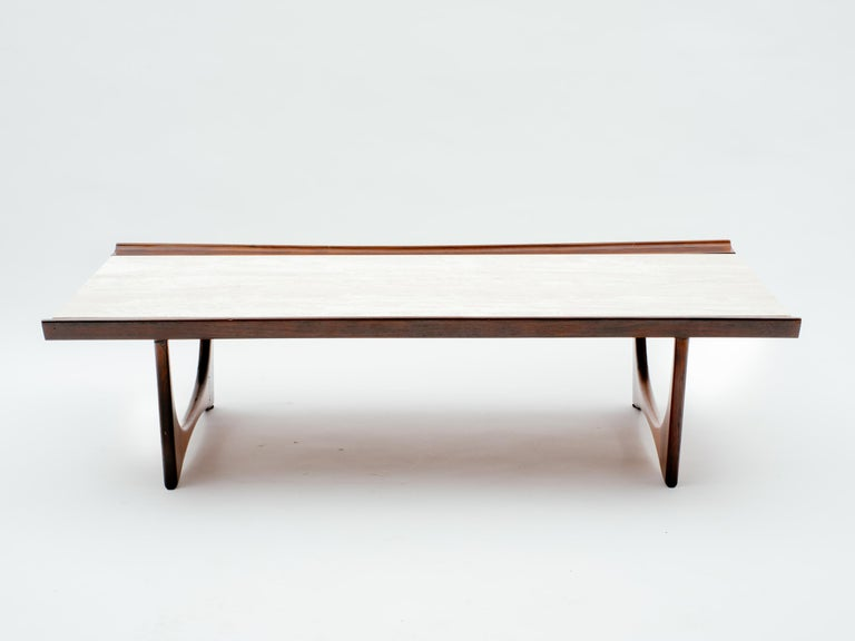 Brazilian rosewood coffee table with inset travertine. Partial paper label on bottom, from design store in Ipanema, Rio de Janeiro, Brasil.